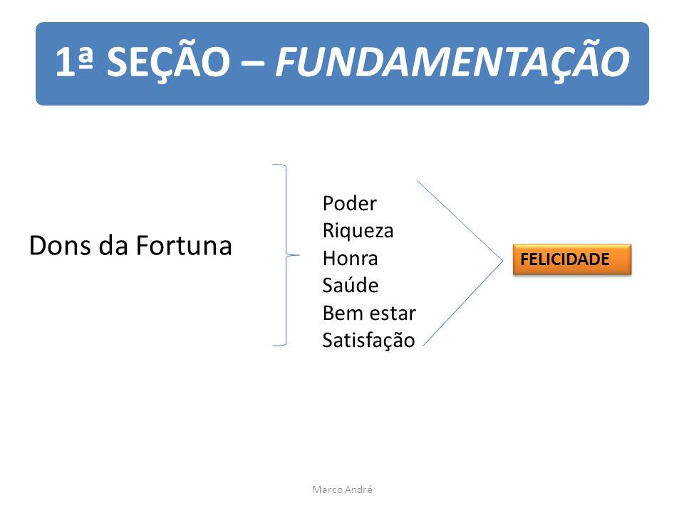 1ª SEÇÃO – FUNDAMENTAÇÃO Dons da Fortuna Poder Riqueza Honra Saúde Bem estar Satisfação FELICIDADE Marco André