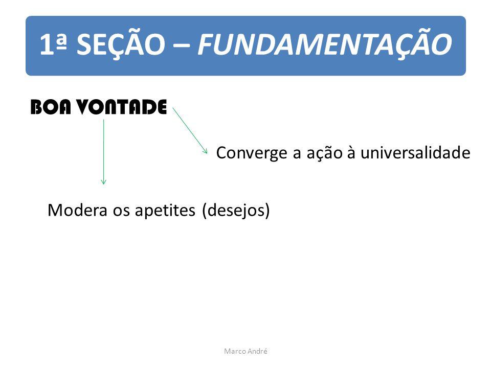 1ª SEÇÃO – FUNDAMENTAÇÃO BOA VONTADE Modera os apetites (desejos) Converge a ação à universalidade Marco André