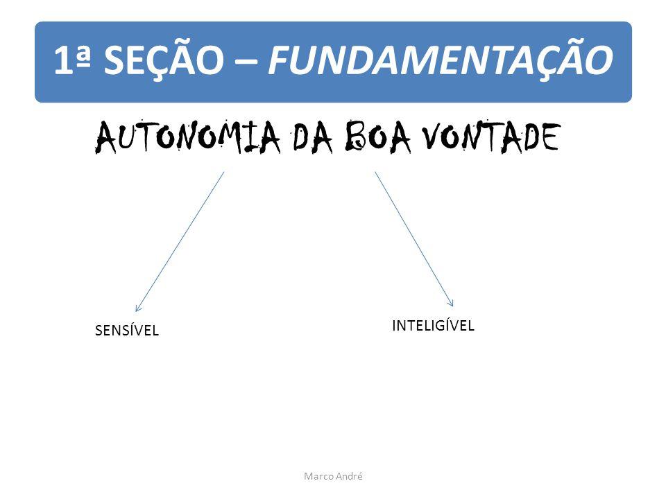1ª SEÇÃO – FUNDAMENTAÇÃO AUTONOMIA DA BOA VONTADE SENSÍVEL INTELIGÍVEL Marco André