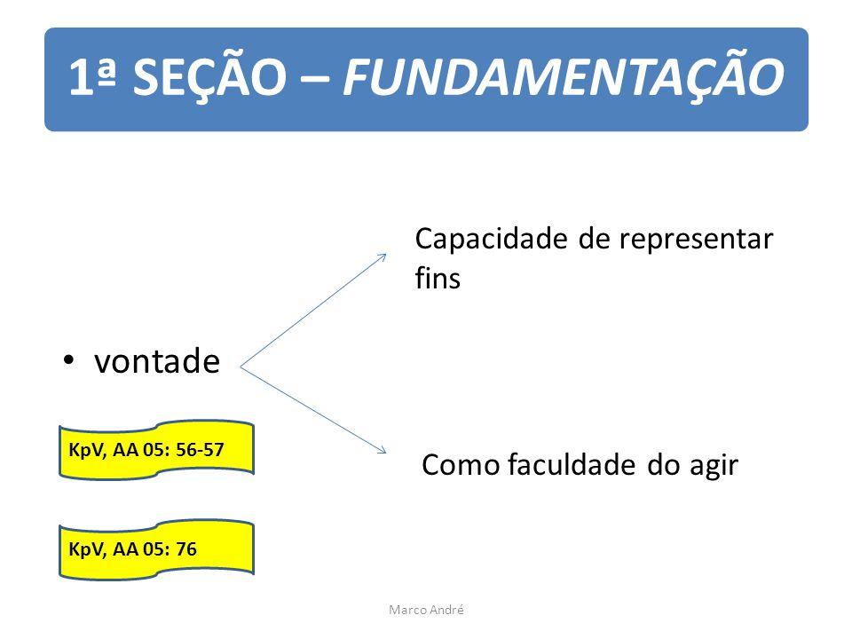 1ª SEÇÃO – FUNDAMENTAÇÃO vontade Capacidade de representar fins Como faculdade do agir KpV, AA 05: 56-57 KpV, AA 05: 76 Marco André