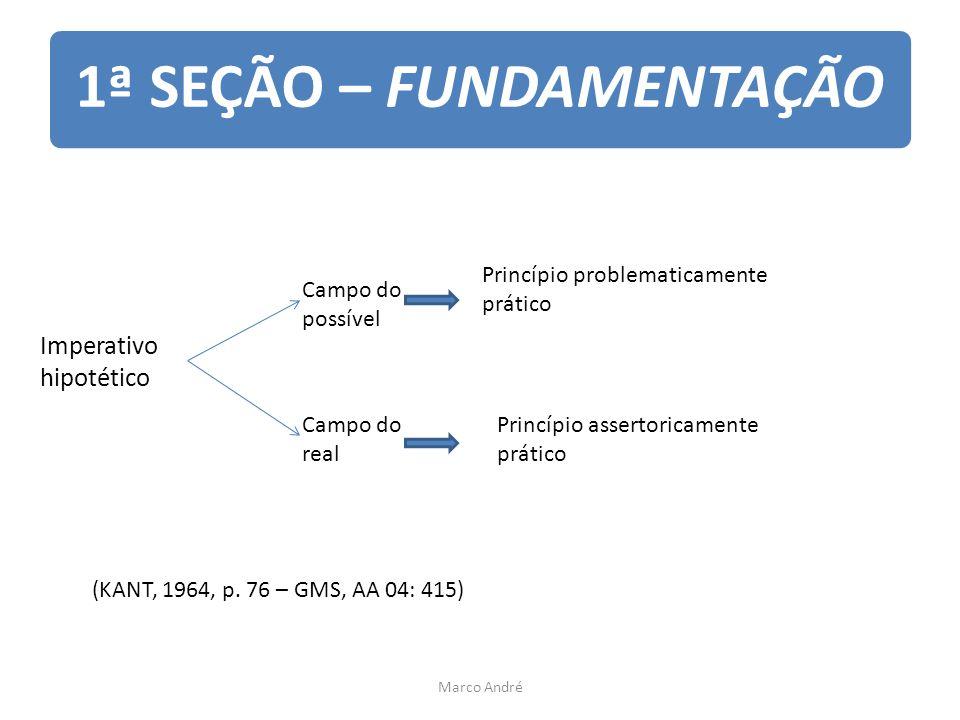 1ª SEÇÃO – FUNDAMENTAÇÃO Imperativo hipotético Campo do possível Princípio problematicamente prático Campo do real Princípio assertoricamente prático (KANT, 1964, p.