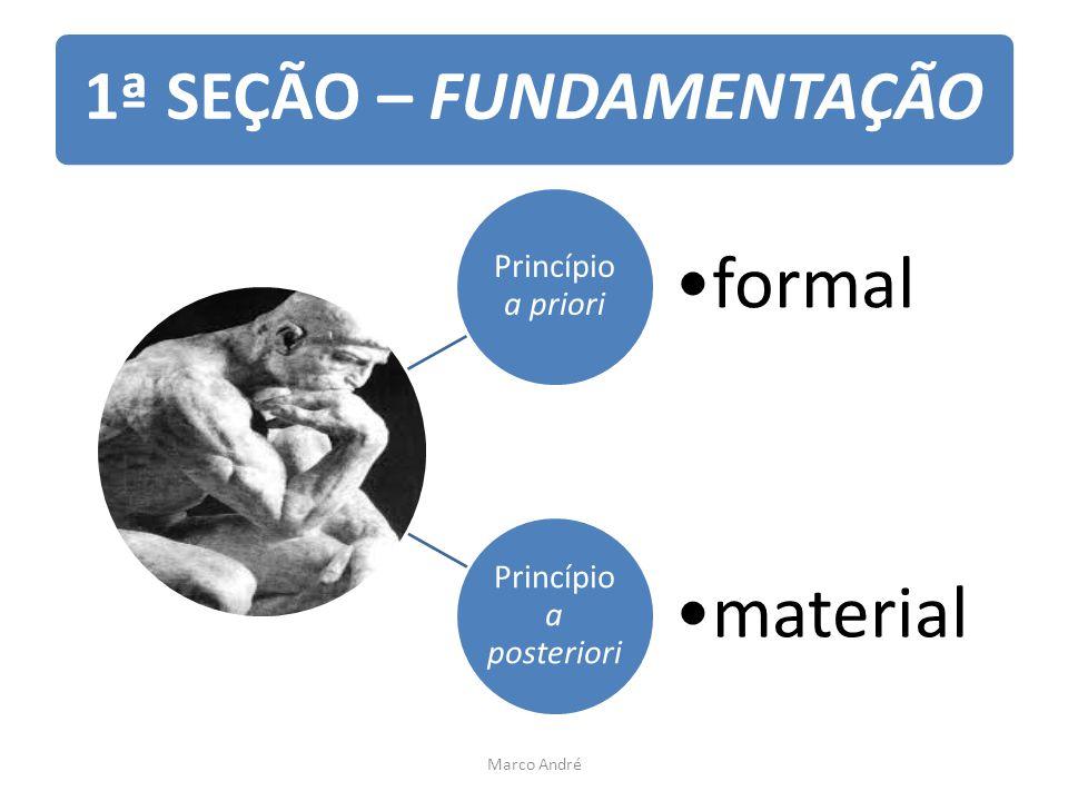 1ª SEÇÃO – FUNDAMENTAÇÃO Princípio a priori formal Princípio a posteriori material Marco André