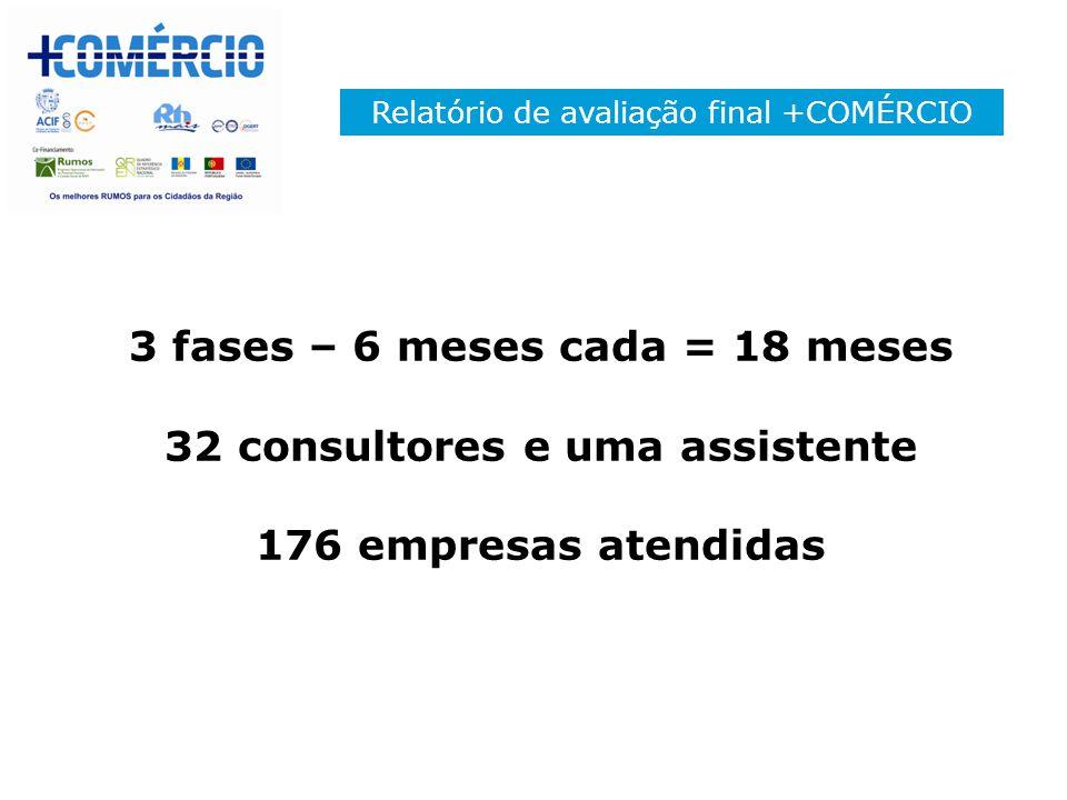 Relatório de avaliação final +COMÉRCIO 3 fases – 6 meses cada = 18 meses 32 consultores e uma assistente 176 empresas atendidas