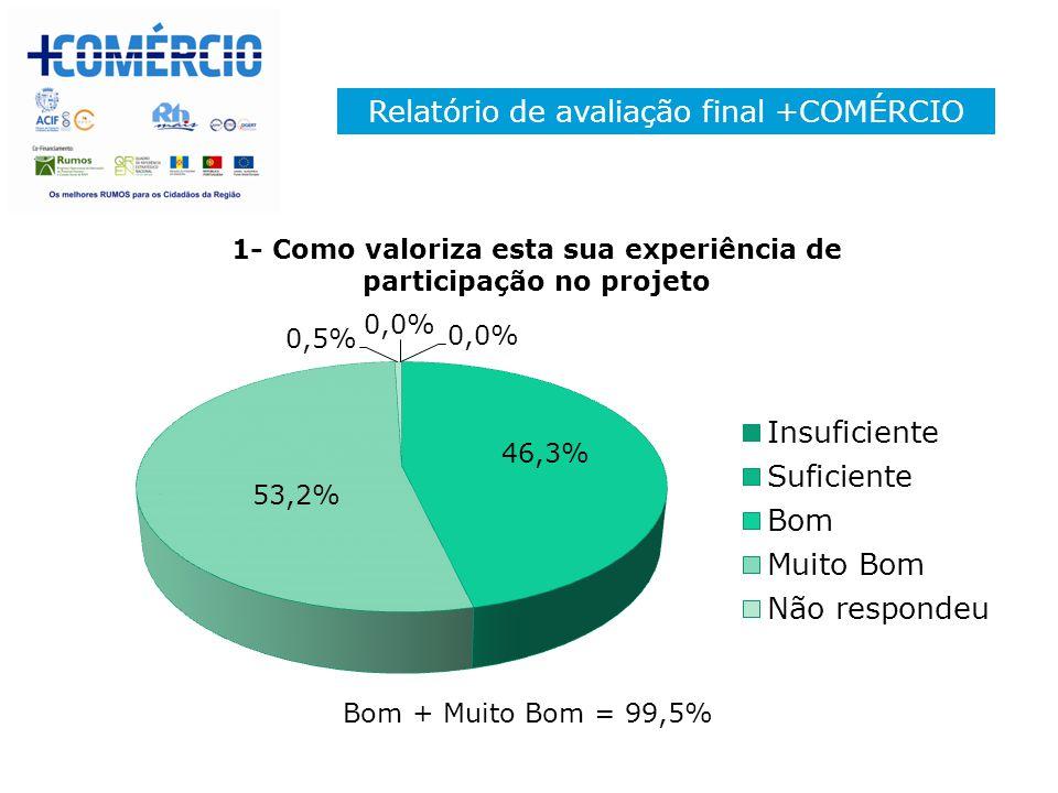 Relatório de avaliação final +COMÉRCIO Bom + Muito Bom = 99,5%