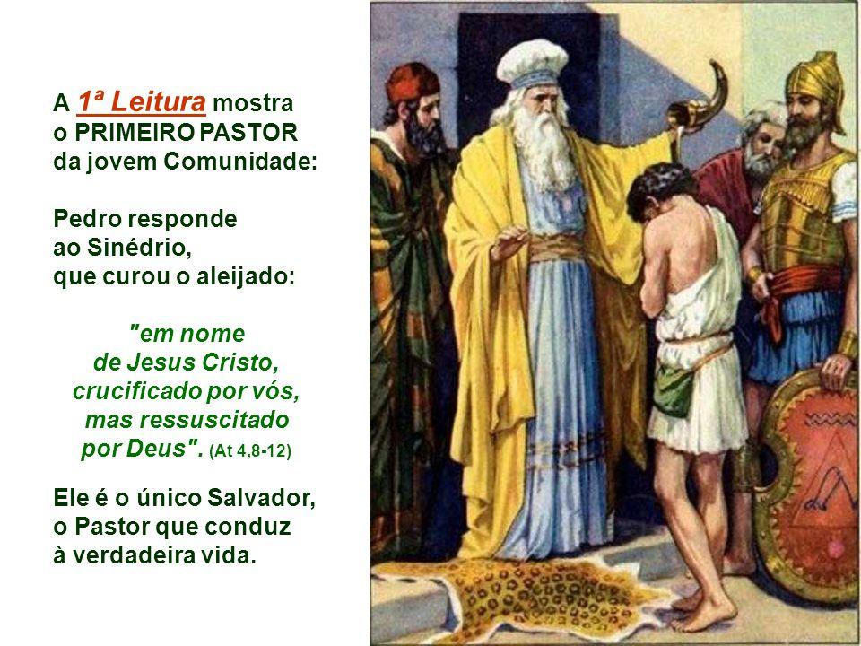 A 1ª Leitura mostra o PRIMEIRO PASTOR da jovem Comunidade: Pedro responde ao Sinédrio, que curou o aleijado: em nome de Jesus Cristo, crucificado por vós, mas ressuscitado por Deus .