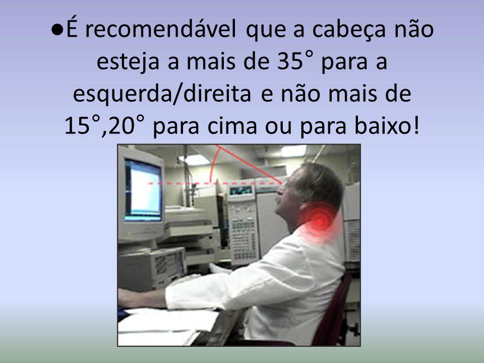 ● É recomendável que a cabeça não esteja a mais de 35 ° para a esquerda/direita e não mais de 15 °,20 ° para cima ou para baixo!