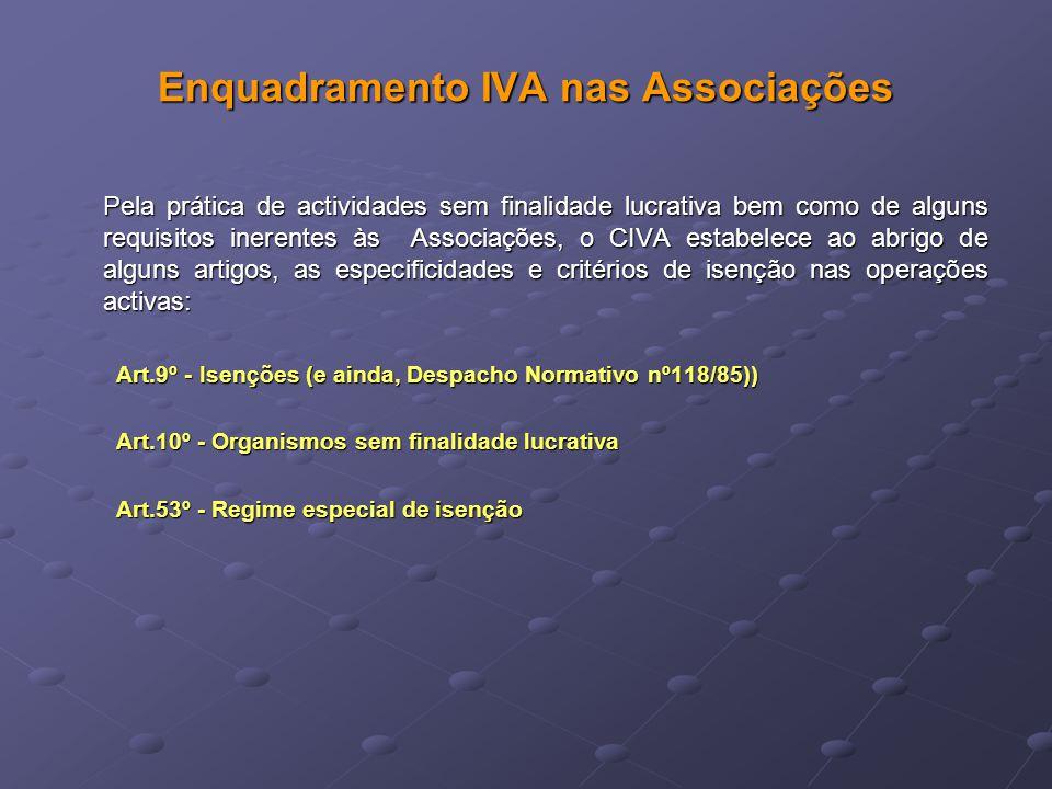 Enquadramento IVA nas Associações Pela prática de actividades sem finalidade lucrativa bem como de alguns requisitos inerentes às Associações, o CIVA