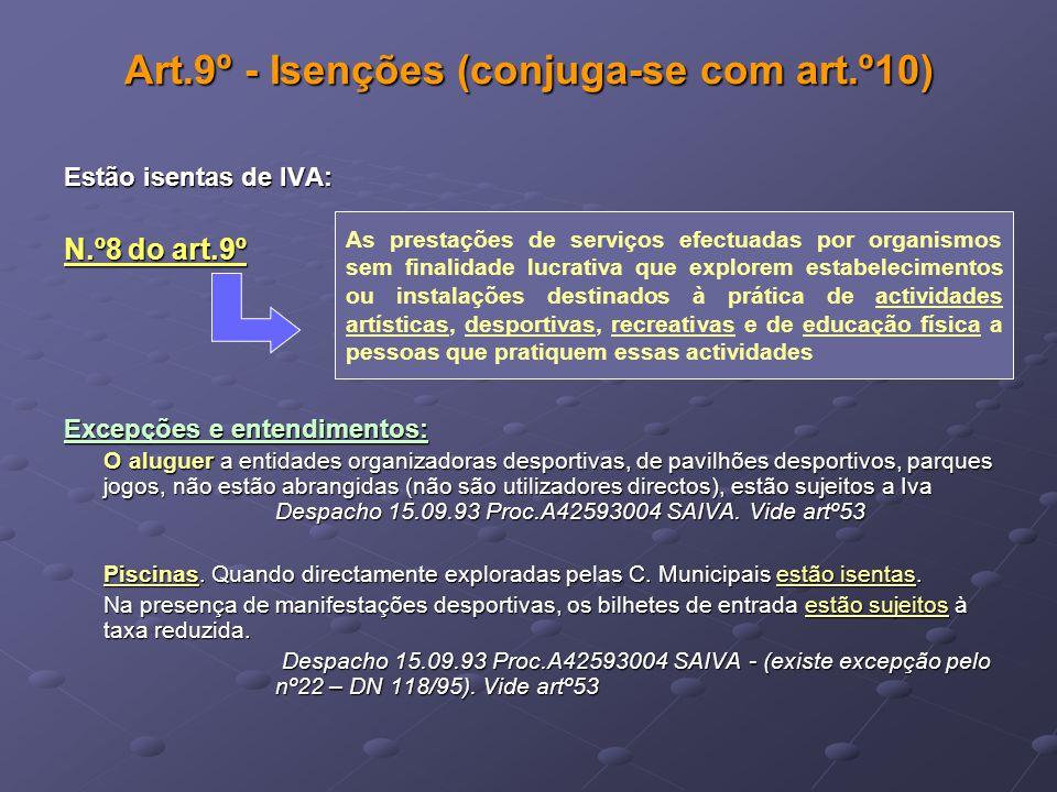 Art.9º - Isenções (conjuga-se com art.º10) Estão isentas de IVA: N.º8 do art.9º Excepções e entendimentos: O aluguer a entidades organizadoras desport