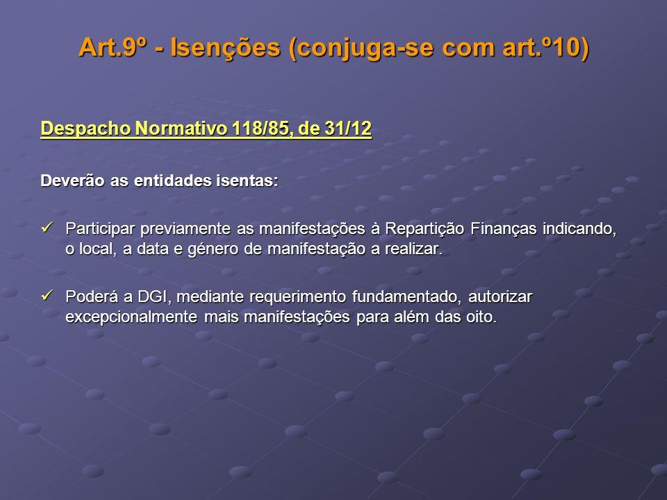 Art.9º - Isenções (conjuga-se com art.º10) Despacho Normativo 118/85, de 31/12 Deverão as entidades isentas: Participar previamente as manifestações à