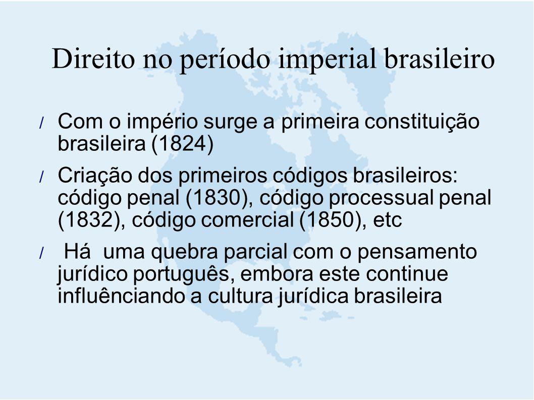 Direito no período imperial brasileiro  Com o império surge a primeira constituição brasileira (1824)  Criação dos primeiros códigos brasileiros: có