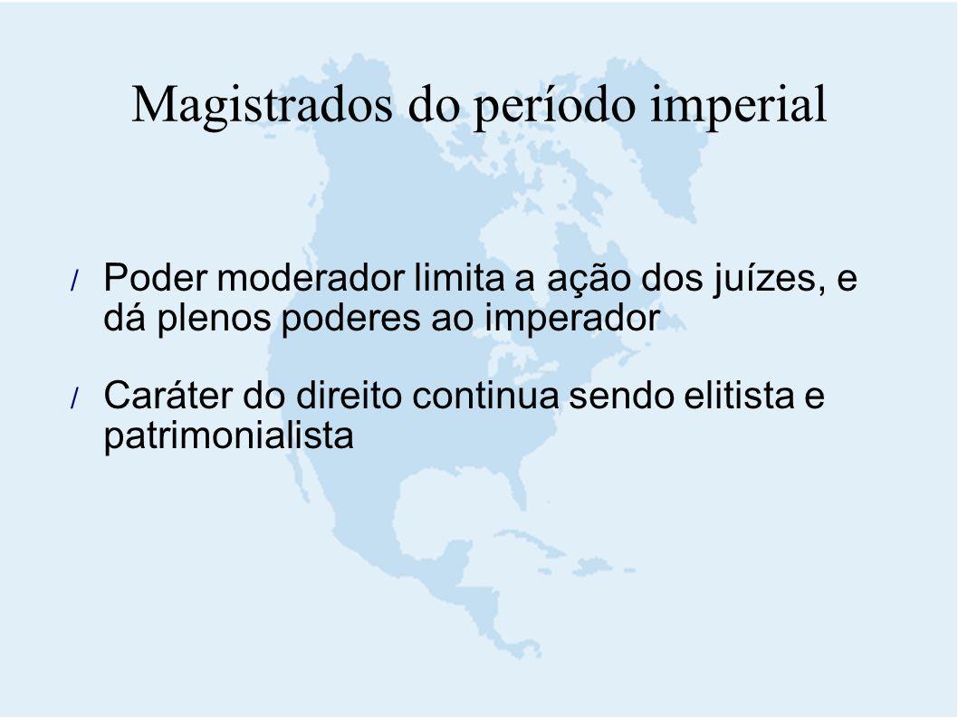  Poder moderador limita a ação dos juízes, e dá plenos poderes ao imperador  Caráter do direito continua sendo elitista e patrimonialista Magistrado