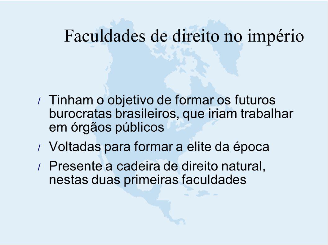 Faculdades de direito no império  Tinham o objetivo de formar os futuros burocratas brasileiros, que iriam trabalhar em órgãos públicos  Voltadas pa