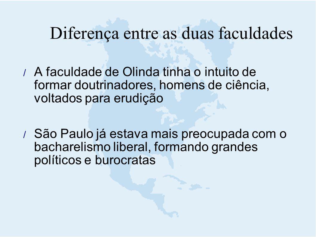Diferença entre as duas faculdades  A faculdade de Olinda tinha o intuito de formar doutrinadores, homens de ciência, voltados para erudição  São Pa