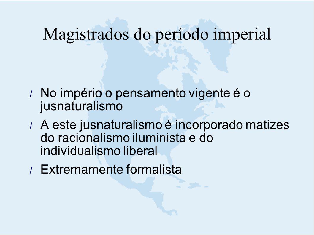  No império o pensamento vigente é o jusnaturalismo  A este jusnaturalismo é incorporado matizes do racionalismo iluminista e do individualismo libe