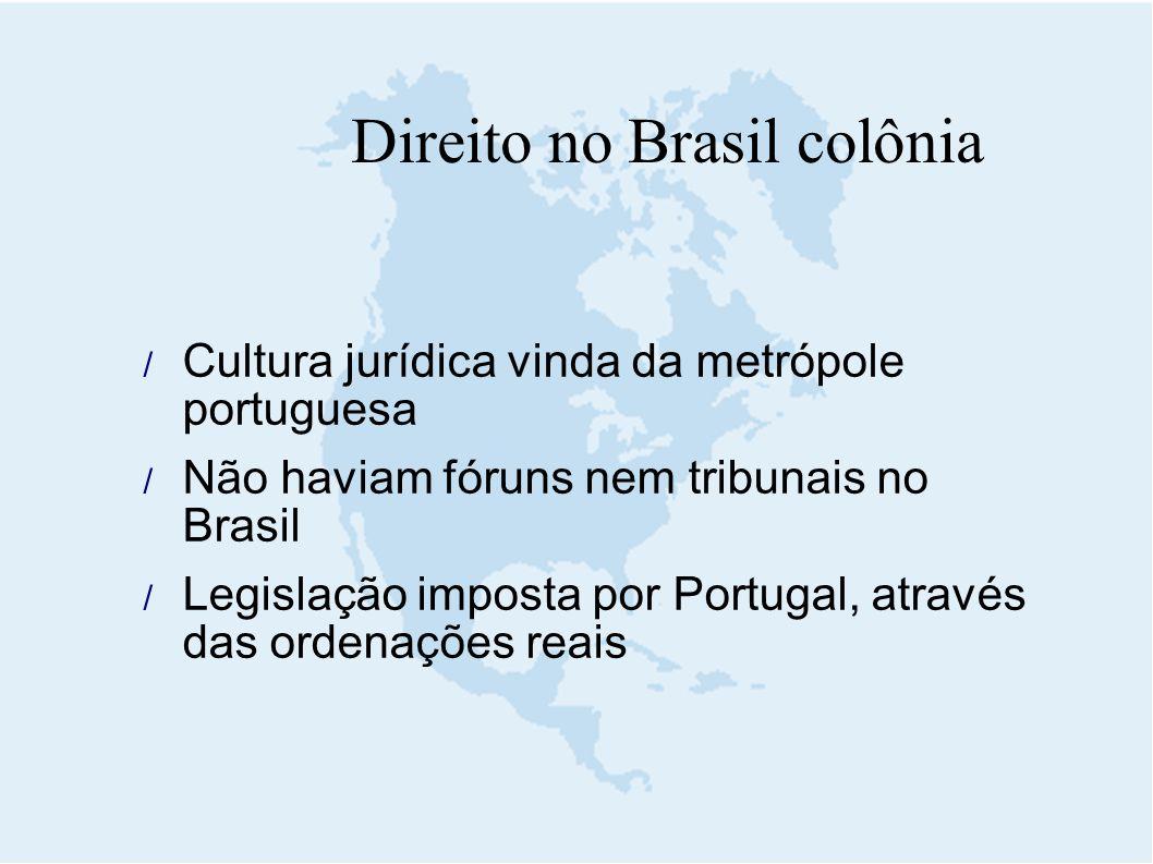 Cultura jurídica vinda da metrópole portuguesa  Não haviam fóruns nem tribunais no Brasil  Legislação imposta por Portugal, através das ordenações