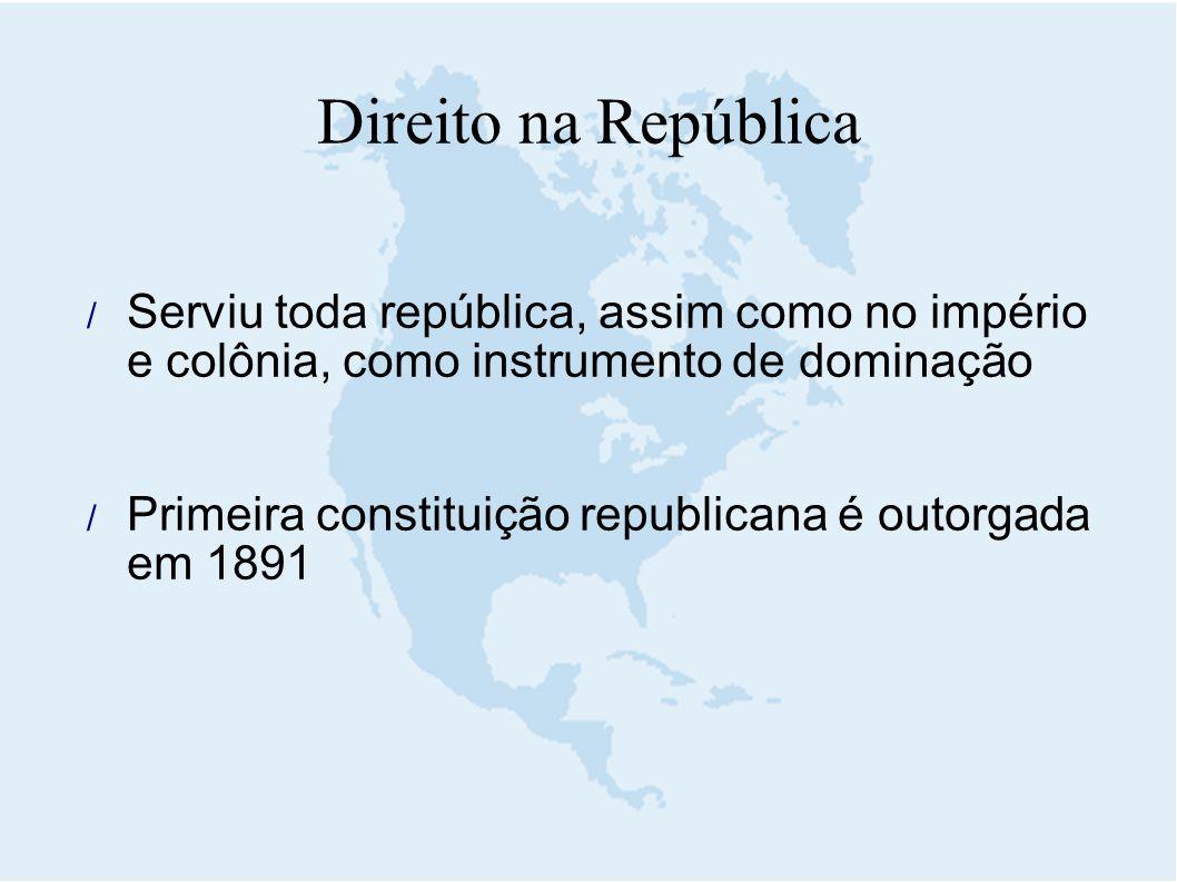 Serviu toda república, assim como no império e colônia, como instrumento de dominação  Primeira constituição republicana é outorgada em 1891 Direit