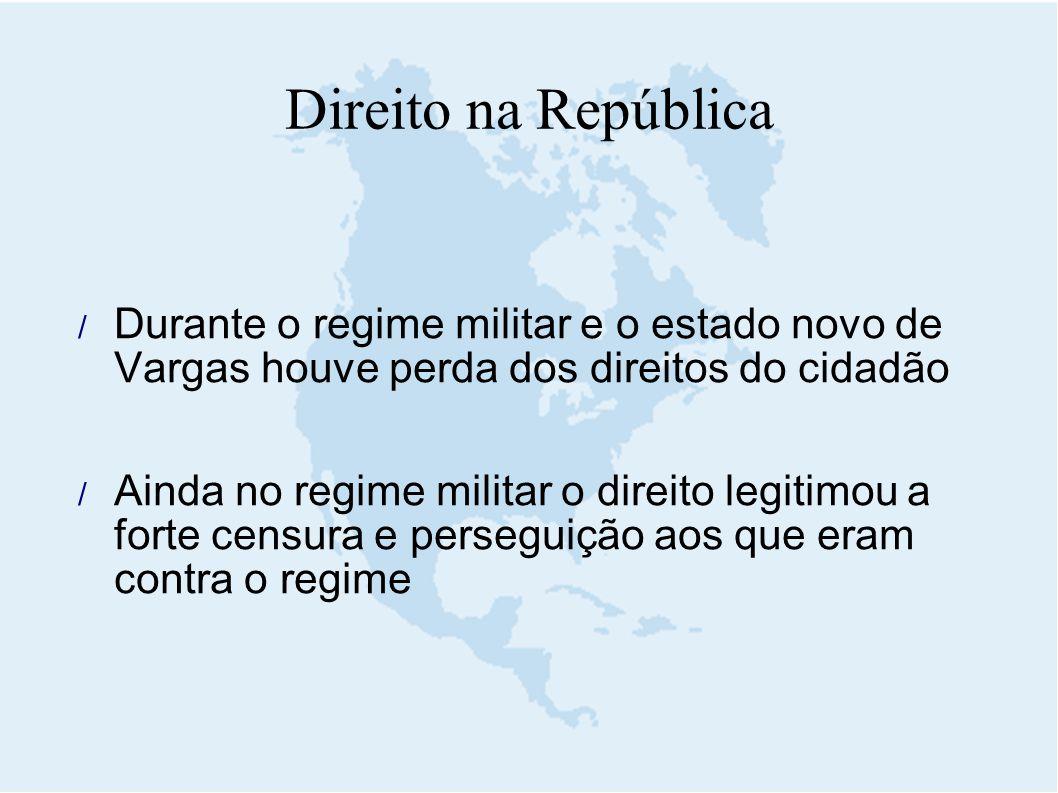  Durante o regime militar e o estado novo de Vargas houve perda dos direitos do cidadão  Ainda no regime militar o direito legitimou a forte censura