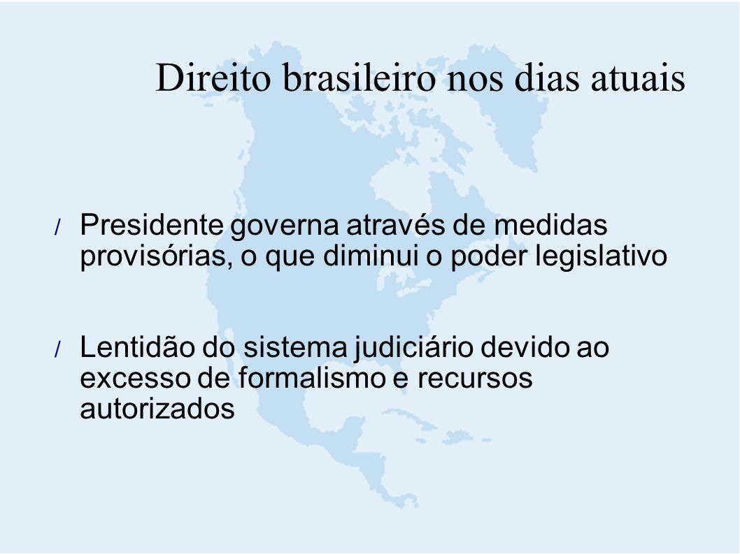 Direito brasileiro nos dias atuais  Presidente governa através de medidas provisórias, o que diminui o poder legislativo  Lentidão do sistema judici