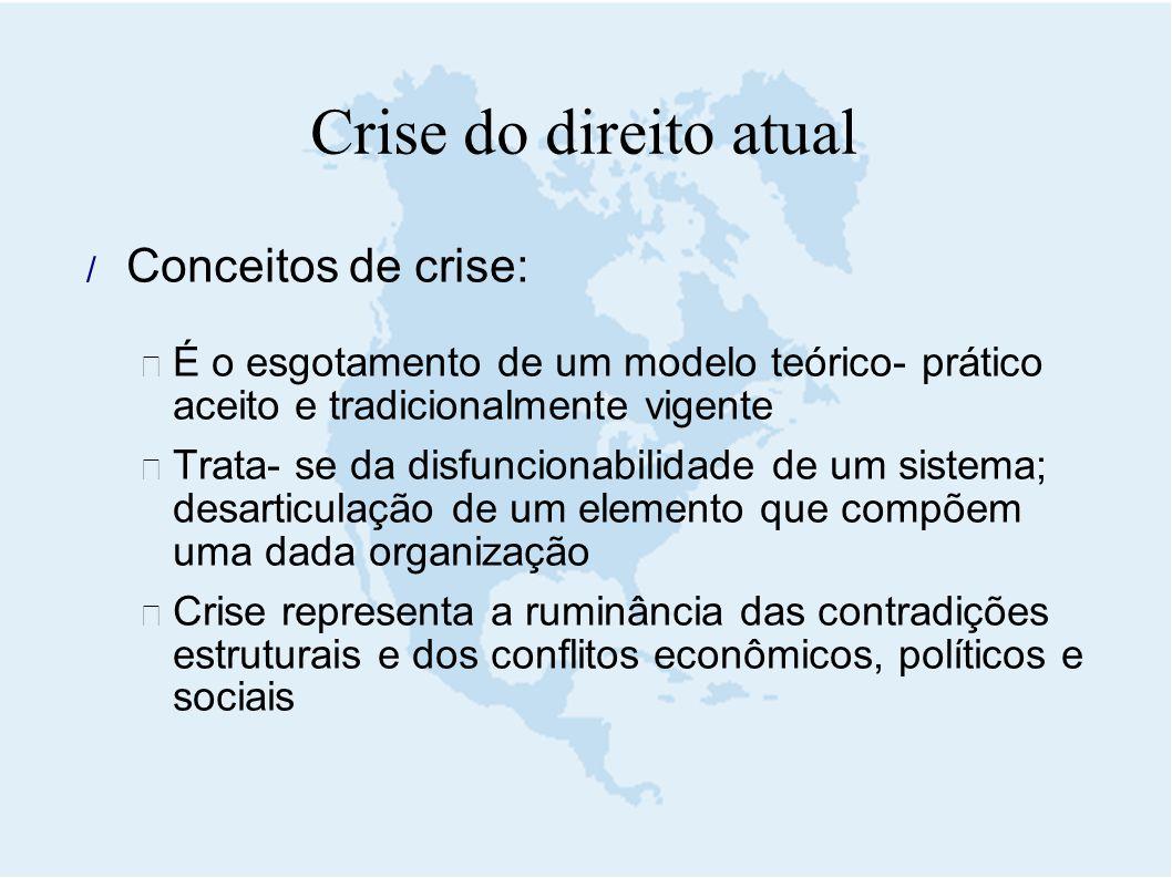 Crise do direito atual  Conceitos de crise:  É o esgotamento de um modelo teórico- prático aceito e tradicionalmente vigente  Trata- se da disfunci