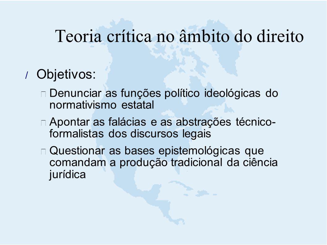  Objetivos:  Denunciar as funções político ideológicas do normativismo estatal  Apontar as falácias e as abstrações técnico- formalistas dos discur