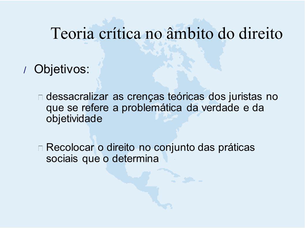  Objetivos:  dessacralizar as crenças teóricas dos juristas no que se refere a problemática da verdade e da objetividade  Recolocar o direito no co