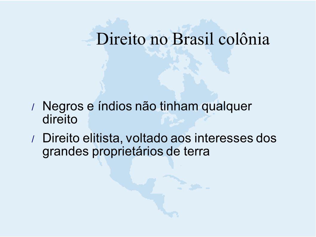  Negros e índios não tinham qualquer direito  Direito elitista, voltado aos interesses dos grandes proprietários de terra Direito no Brasil colônia