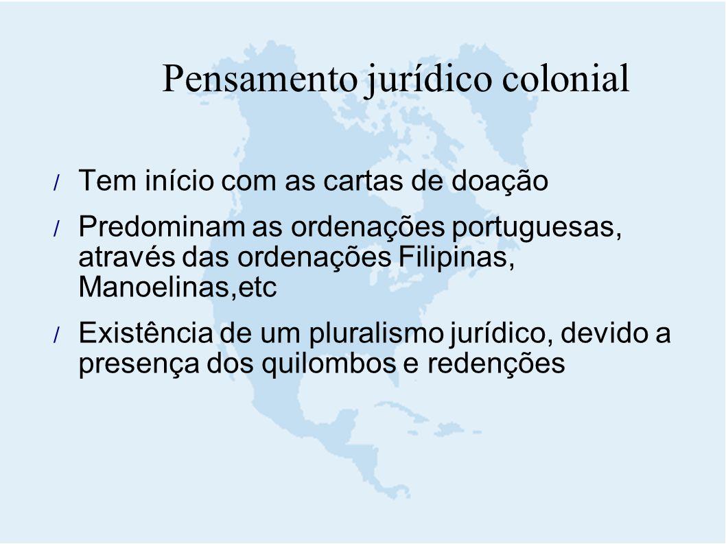  Tem início com as cartas de doação  Predominam as ordenações portuguesas, através das ordenações Filipinas, Manoelinas,etc  Existência de um plura