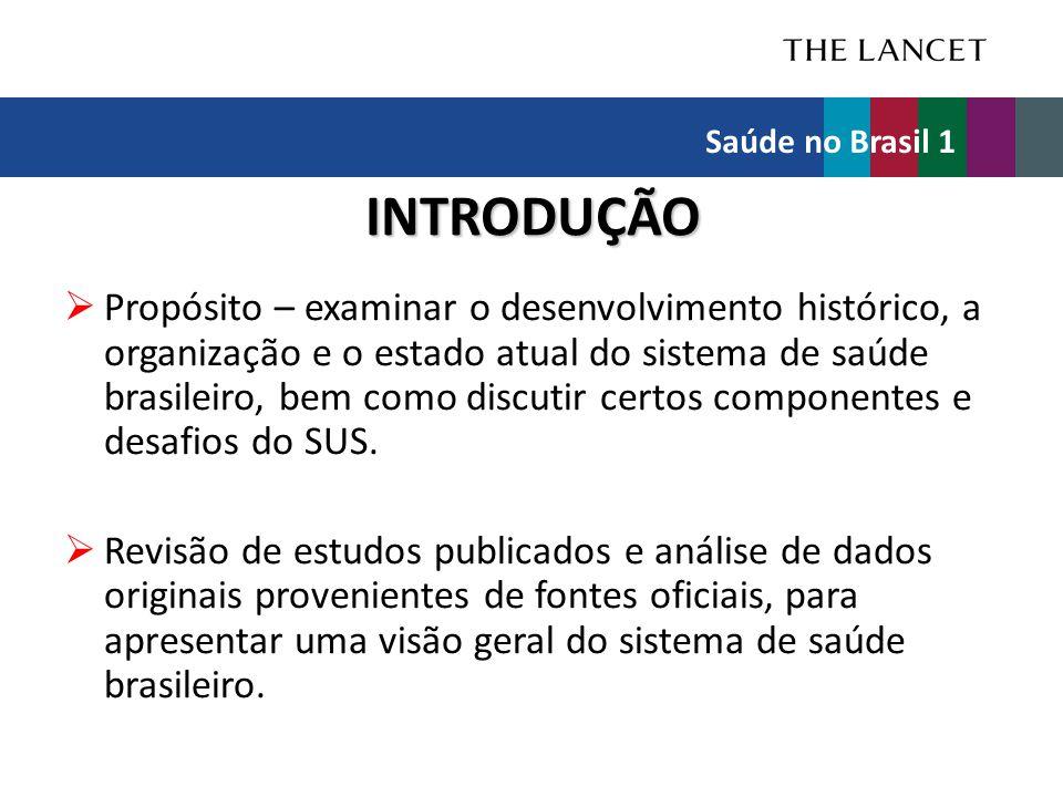 INTRODUÇÃO  Propósito – examinar o desenvolvimento histórico, a organização e o estado atual do sistema de saúde brasileiro, bem como discutir certos