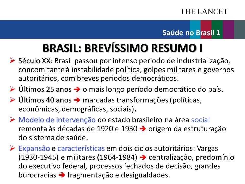 INFRAESTRUTURA Equipamentos (2010)No.Públicos (%) Mamógrafos175328,4 Aparelhos de raios X1586158,9 Tomógrafos126824,1 Ressonância magnética40913,4 Aparelhos de ultrassonografia 896651,0 Saúde no Brasil 1