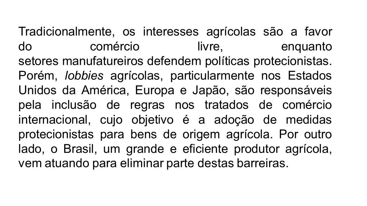 Tradicionalmente, os interesses agrícolas são a favor do comércio livre, enquanto setores manufatureiros defendem políticas protecionistas. Porém, lob