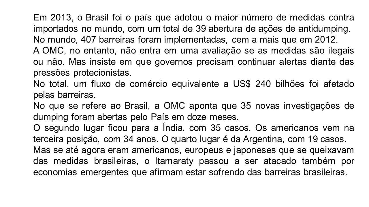 Em 2013, o Brasil foi o país que adotou o maior número de medidas contra importados no mundo, com um total de 39 abertura de ações de antidumping. No