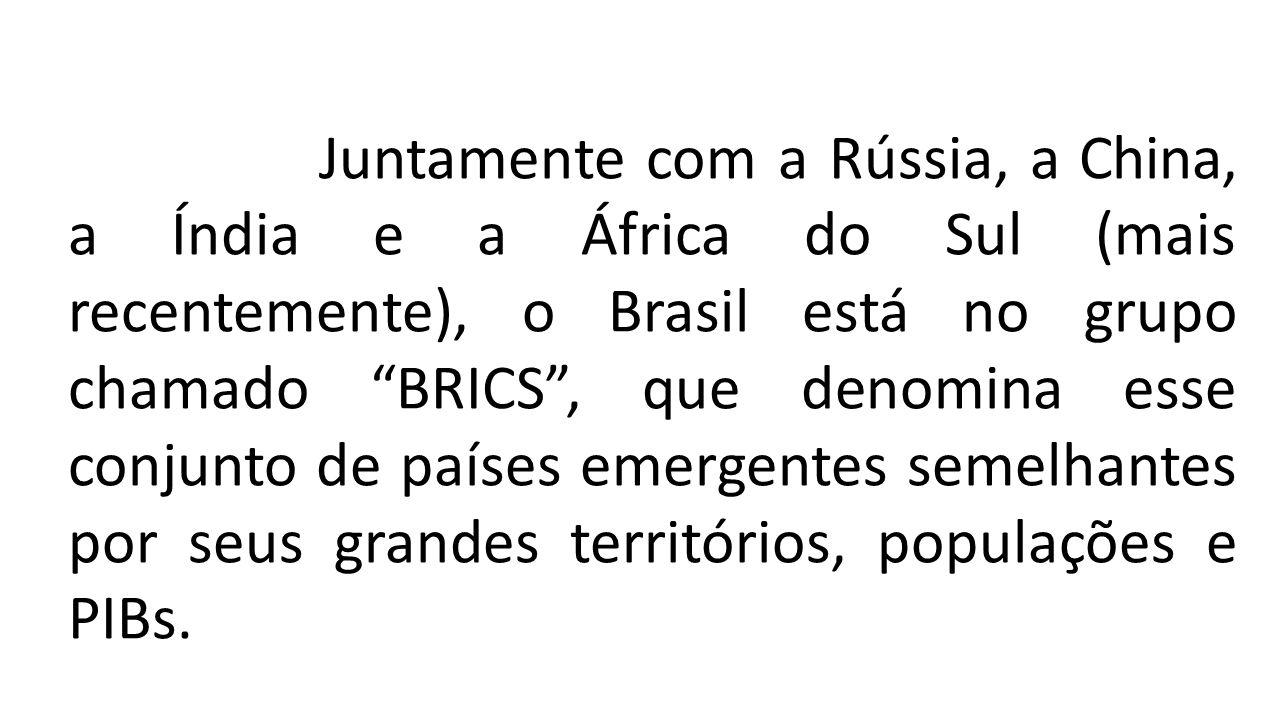 """Juntamente com a Rússia, a China, a Índia e a África do Sul (mais recentemente), o Brasil está no grupo chamado """"BRICS"""", que denomina esse conjunto de"""