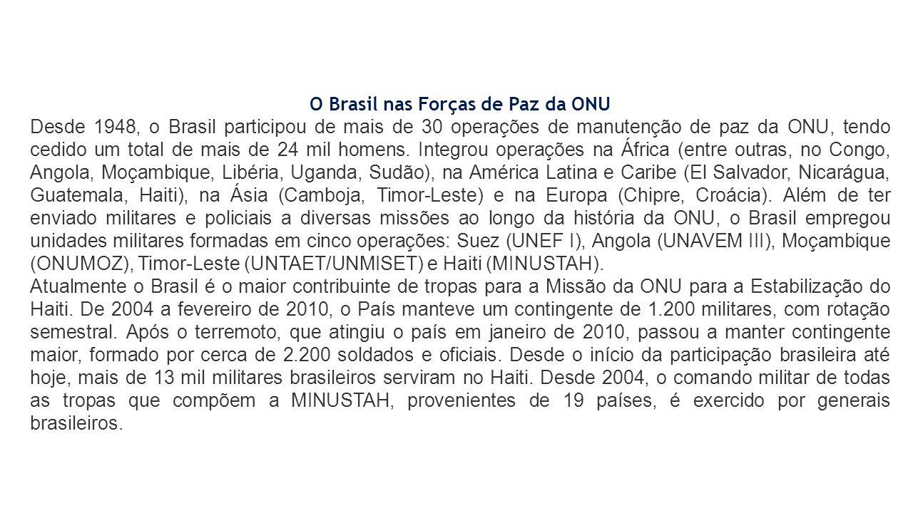 O Brasil nas Forças de Paz da ONU Desde 1948, o Brasil participou de mais de 30 operações de manutenção de paz da ONU, tendo cedido um total de mais d