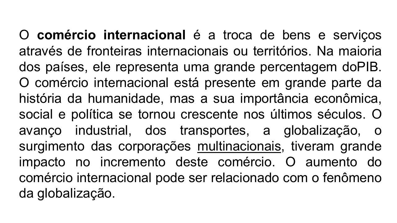 O comércio internacional é a troca de bens e serviços através de fronteiras internacionais ou territórios. Na maioria dos países, ele representa uma g
