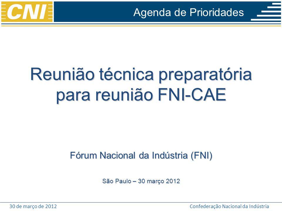 30 de março de 2012Confederação Nacional da Indústria Agenda de Prioridades Reunião técnica preparatória para reunião FNI-CAE Fórum Nacional da Indúst