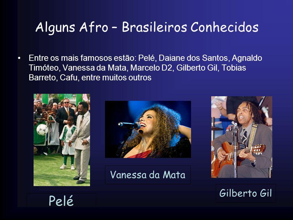 Alguns Afro – Brasileiros Conhecidos Entre os mais famosos estão: Pelé, Daiane dos Santos, Agnaldo Timóteo, Vanessa da Mata, Marcelo D2, Gilberto Gil,