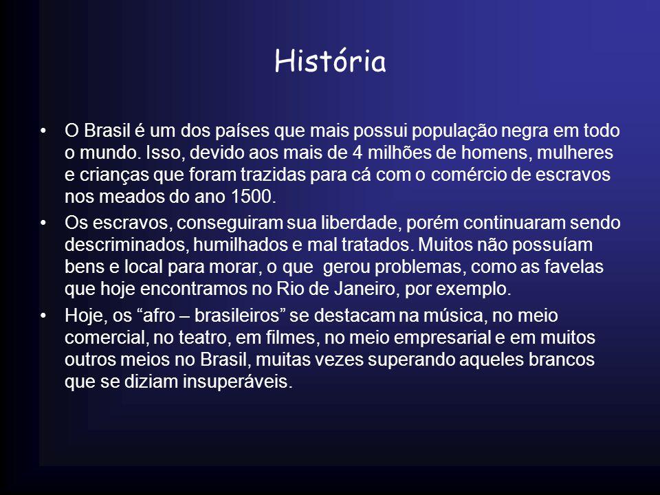 História O Brasil é um dos países que mais possui população negra em todo o mundo. Isso, devido aos mais de 4 milhões de homens, mulheres e crianças q