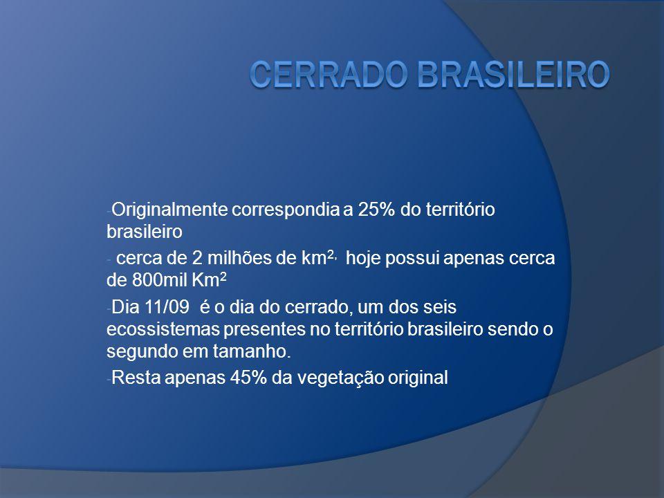 - Originalmente correspondia a 25% do território brasileiro - cerca de 2 milhões de km 2, hoje possui apenas cerca de 800mil Km 2 - Dia 11/09 é o dia