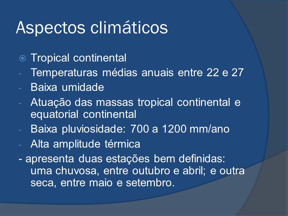 Aspectos climáticos  Tropical continental - Temperaturas médias anuais entre 22 e 27 - Baixa umidade - Atuação das massas tropical continental e equa