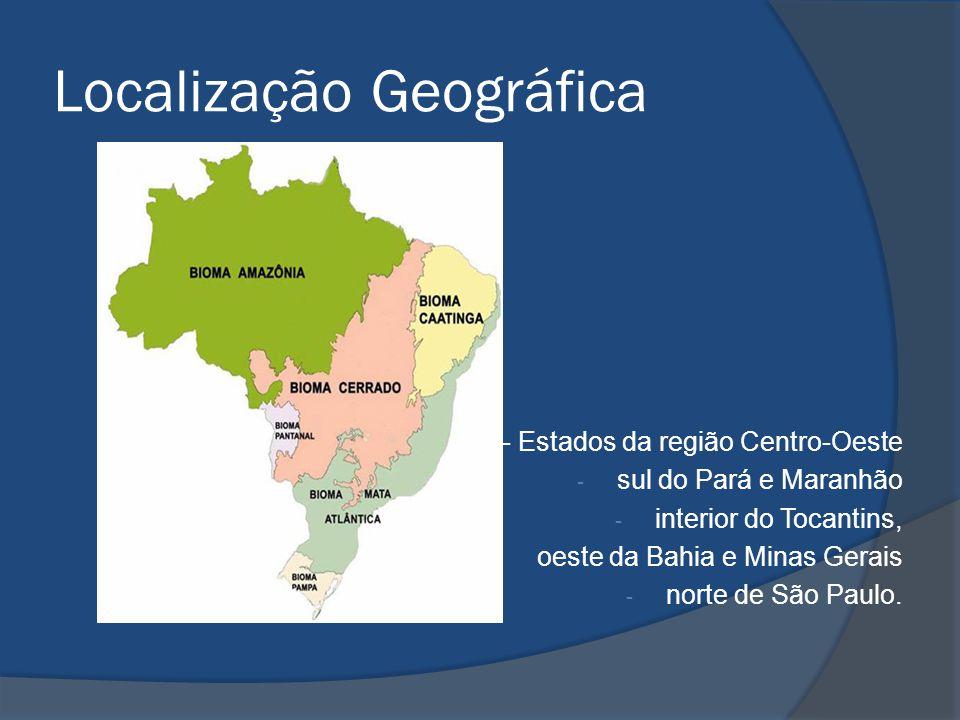 Localização Geográfica - Estados da região Centro-Oeste - sul do Pará e Maranhão - interior do Tocantins, - oeste da Bahia e Minas Gerais - norte de S