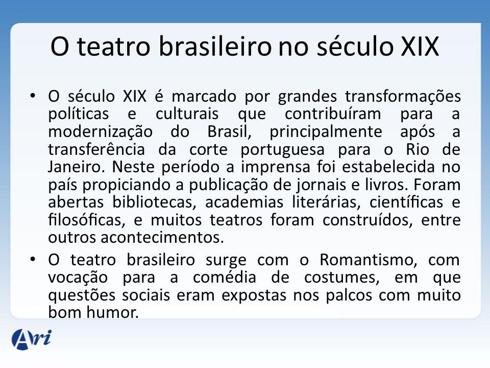 O teatro brasileiro no século XIX O século XIX é marcado por grandes transformações políticas e culturais que contribuíram para a modernização do Bras