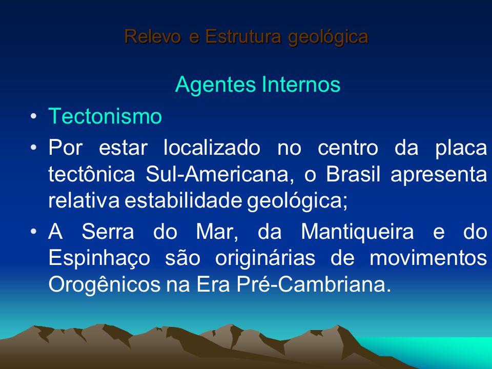 Relevo e Estrutura geológica Agentes Internos Tectonismo Por estar localizado no centro da placa tectônica Sul-Americana, o Brasil apresenta relativa