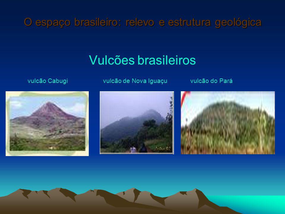 O espaço brasileiro: relevo e estrutura geológica Vulcões brasileiros vulcão Cabugi vulcão de Nova Iguaçu vulcão do Pará