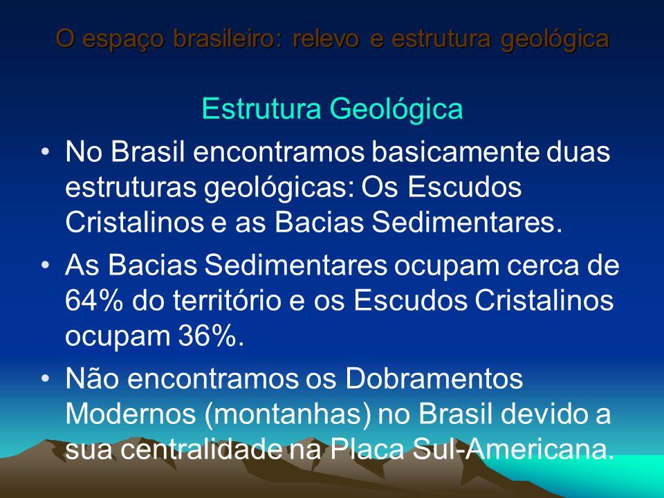 O espaço brasileiro: relevo e estrutura geológica Estrutura Geológica No Brasil encontramos basicamente duas estruturas geológicas: Os Escudos Cristal