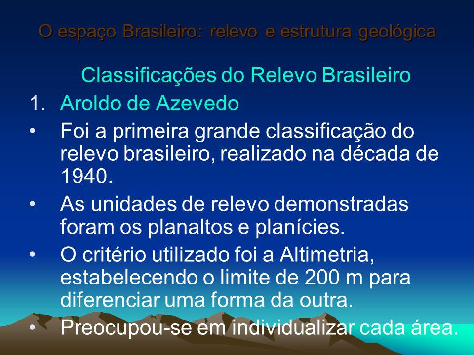 O espaço Brasileiro: relevo e estrutura geológica Classificações do Relevo Brasileiro 1.Aroldo de Azevedo Foi a primeira grande classificação do relev