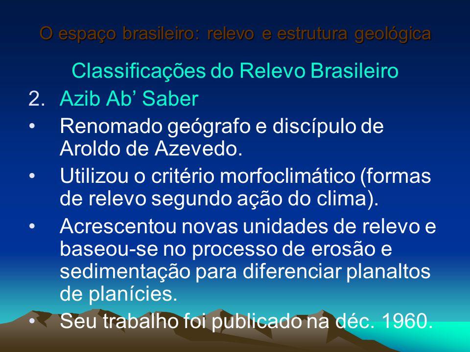 O espaço brasileiro: relevo e estrutura geológica Classificações do Relevo Brasileiro 2.Azib Ab' Saber Renomado geógrafo e discípulo de Aroldo de Azev