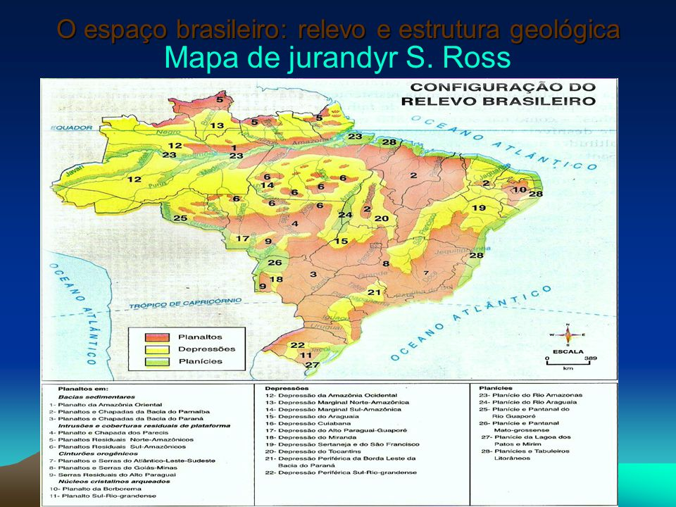 O espaço brasileiro: relevo e estrutura geológica Mapa de jurandyr S. Ross