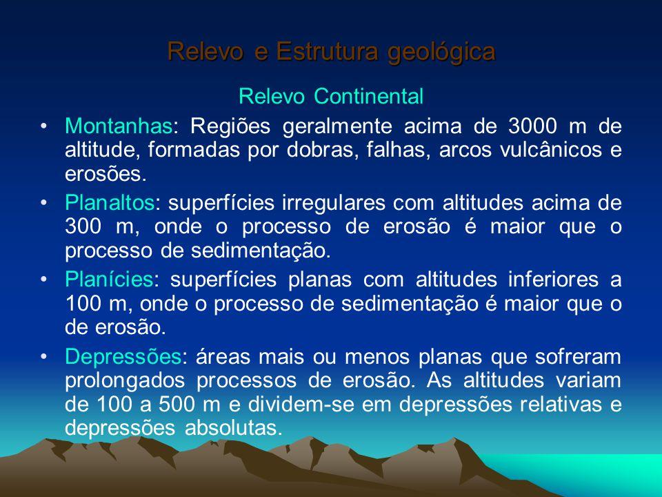 Relevo e Estrutura geológica Relevo Continental Montanhas: Regiões geralmente acima de 3000 m de altitude, formadas por dobras, falhas, arcos vulcânic