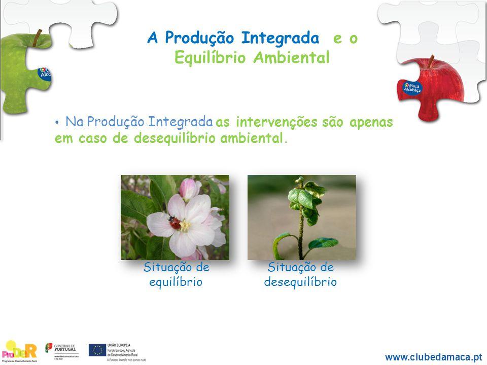 A Produção Integrada e o Equilíbrio Ambiental Na Produção Integrada as intervenções são apenas em caso de desequilíbrio ambiental. Situação de equilíb