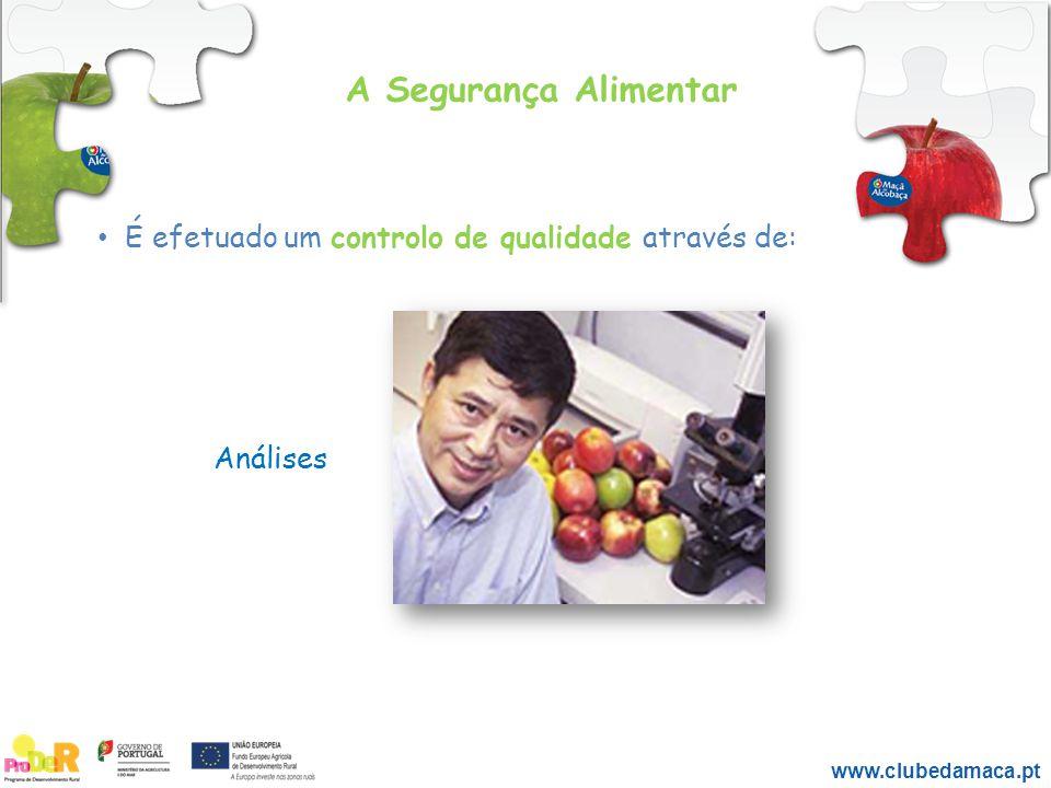 A Segurança Alimentar É efetuado um controlo de qualidade através de: Análises www.clubedamaca.pt